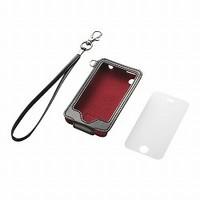 iPhone 3GS用ソフトレザーケース&液晶保護フィルムj&ハンドストラップセット(ブラック)