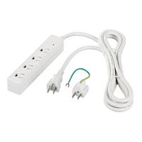 RoHS対応 3ピン式電源タップ 4個口タイプ マグネット付 3m ホワイト画像