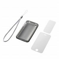 iPhone 3GS用ハードケース&液晶保護フィルムj&ハンドストラップセット(ホワイト)
