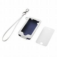 iPhone 3GS用ソフトレザーケース&液晶保護フィルムj&ハンドストラップセット(ホワイト)